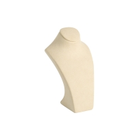 Small display bust covered in cream, suedette-finish fabric 16cm