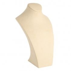 Tall display bust in cream coloured suedette fabric, 35cm
