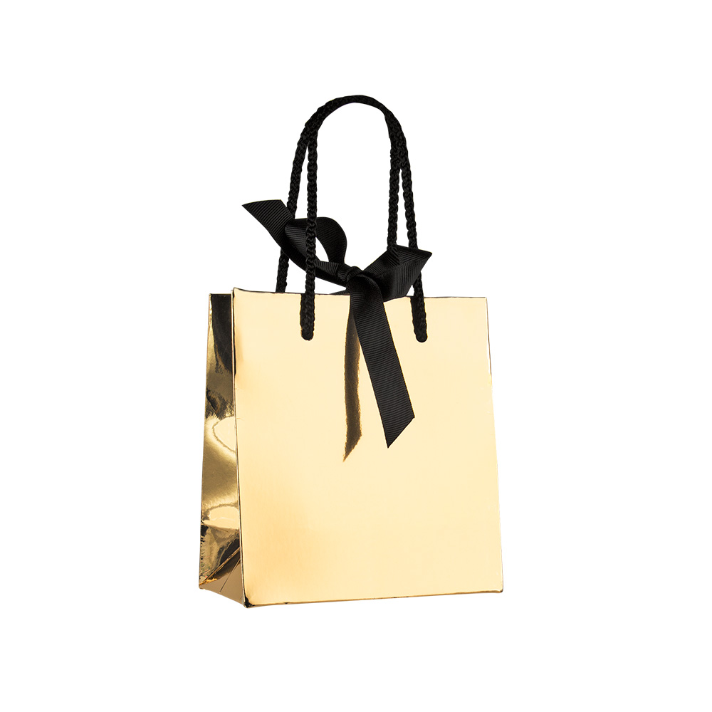 Mirror-effect paper boutique bag 210g, black rope handles and ribbon fastener