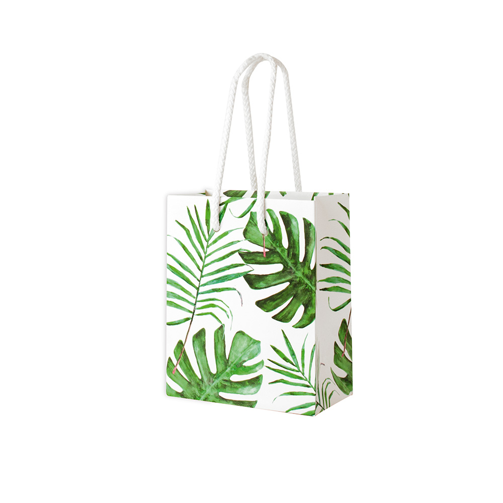 Satin-finish 'jungle' paper boutique bags with cord handles, 180g
