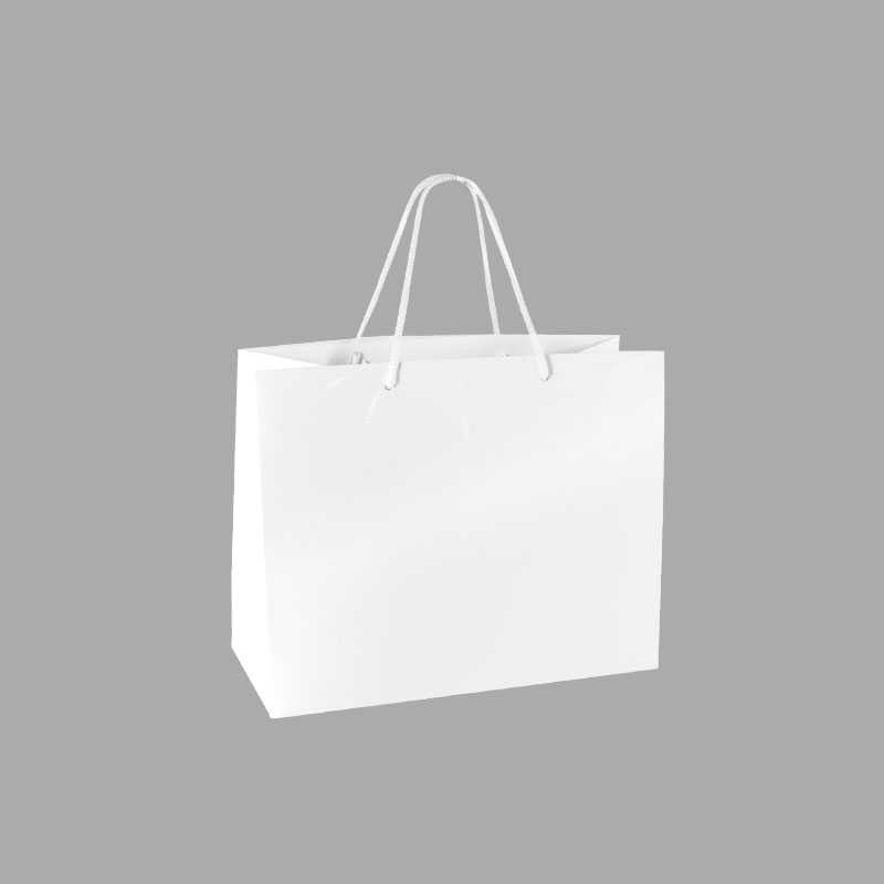 White laminated paper boutique bags, landscade format, 190g