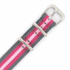 14mm wide man-made striped watch strap with steel buckle