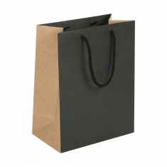 Black and natural two-tone kraft paper carrier bag