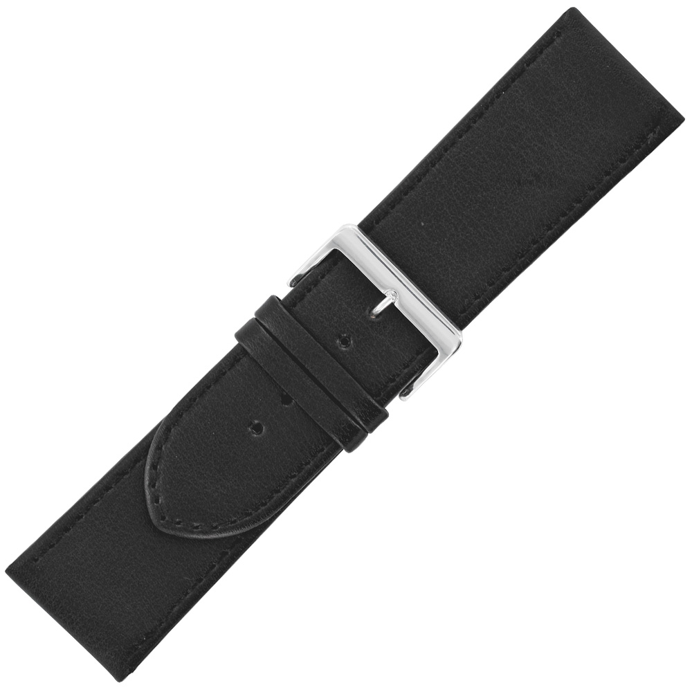 Broad black genuine, corrected grain cowhide watch strap with steel buckle