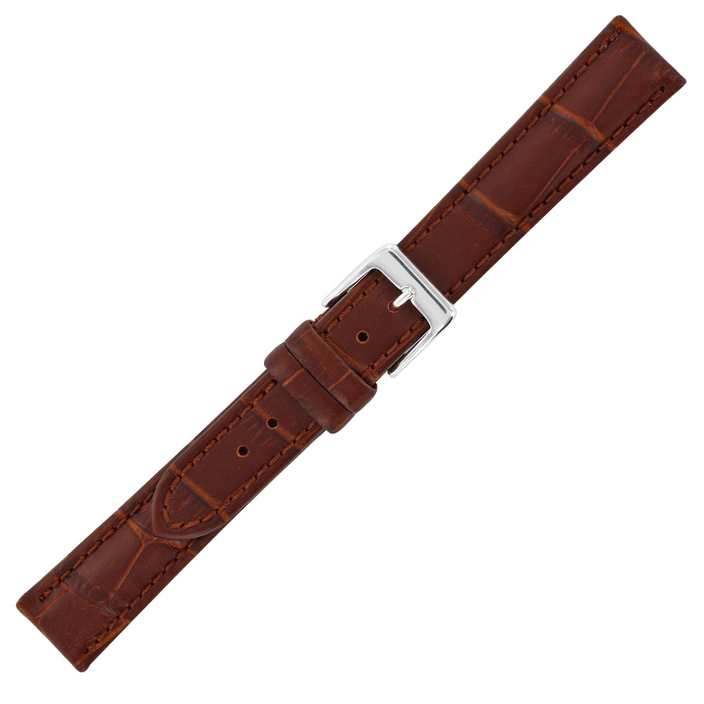 Brown cowhide watch strap with embossed crocodile finish, split leather lining and steel buckle