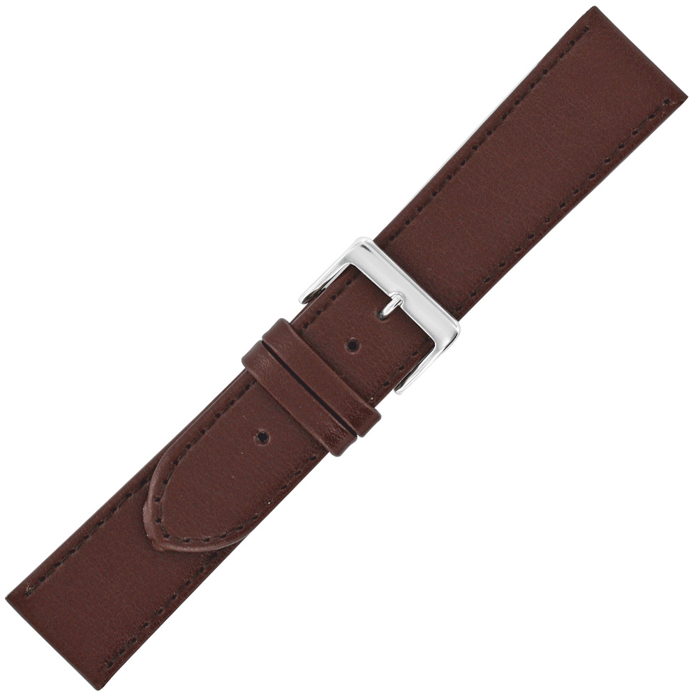 Brown genuine, corrected grain cowhide watch strap with steel buckle