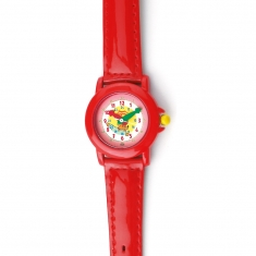 Children\\\'s watch with metal case and man-made strap