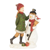 Christmas decoration, child with snowman
