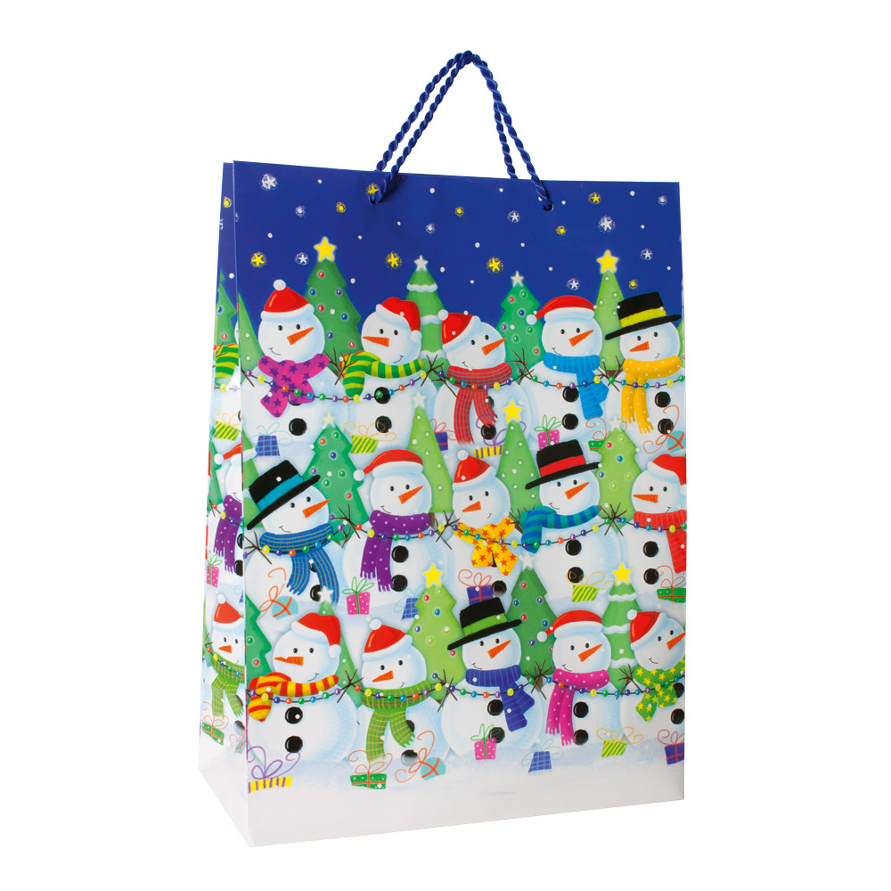 Happy Snowmen on Christmas paper carrier bags, 128g - 32 x 15 x 45cm