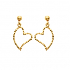 Heart shaped gold plated earrings formed with small ball shaped links