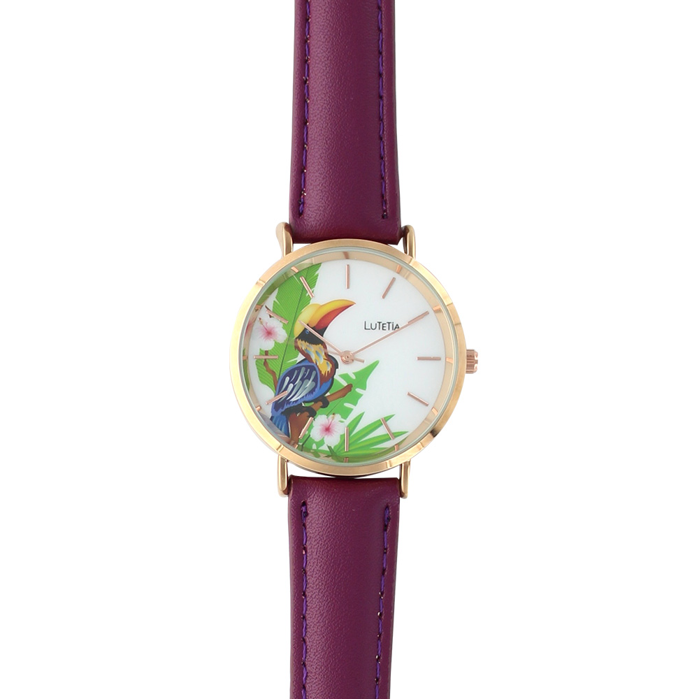 Ladies\\\' watch by Lutetia with man-made purple strap and toucan motif on dial