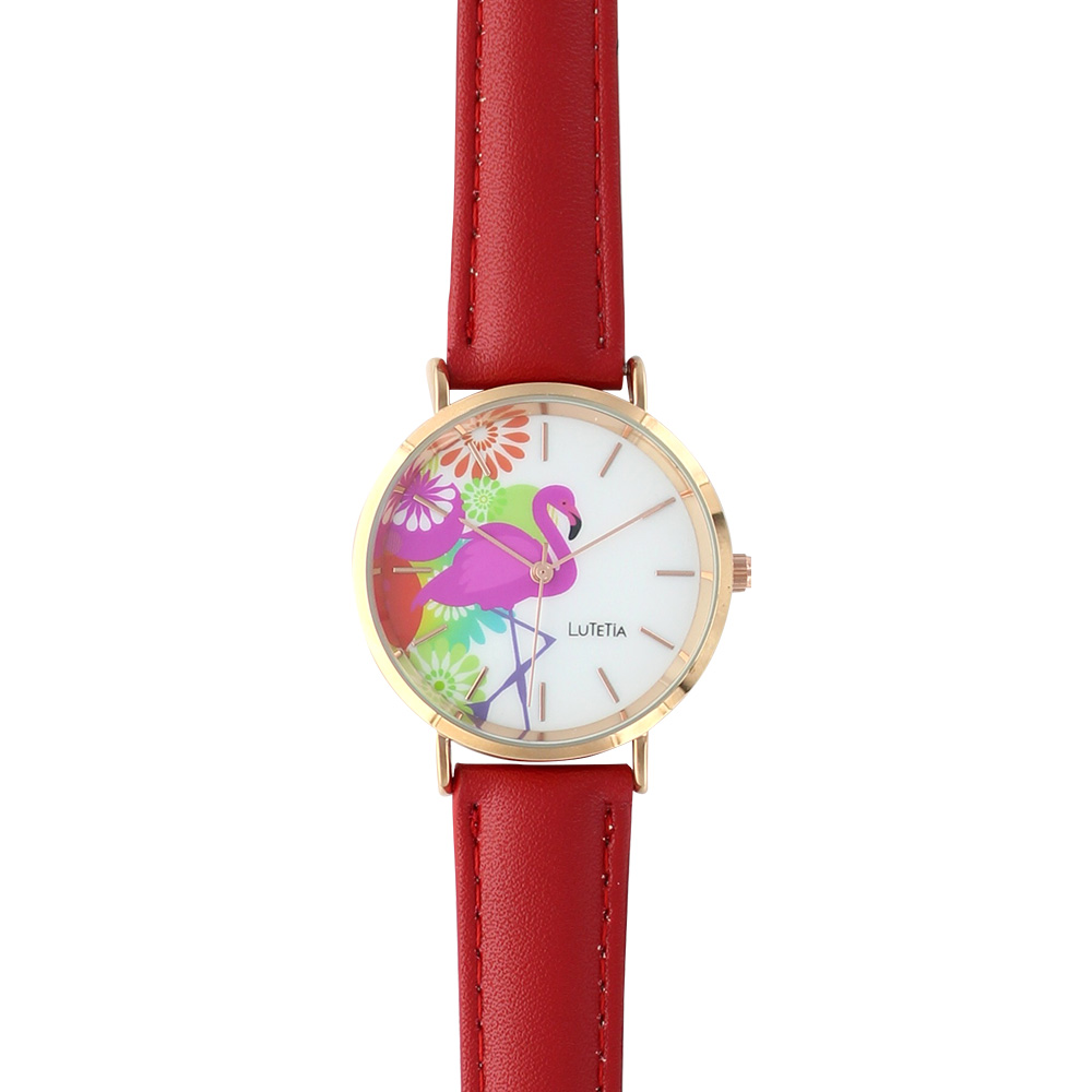 Ladies\\\' watch by Lutetia with man-made red strap and flamingo motif on dial