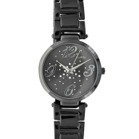 Lutetia black metal watch, black 36mm dial set with synthetic stones and matching metal bracelet