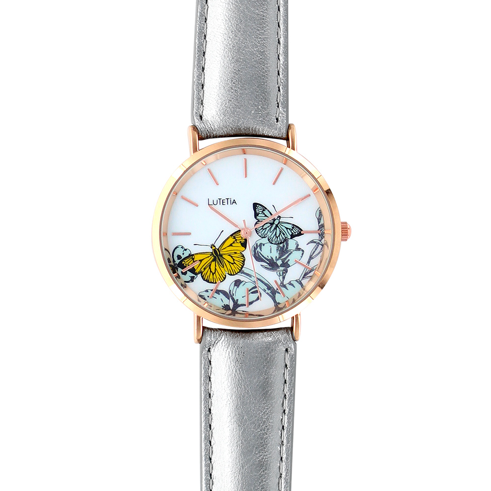 Lutetia ladies\\\' watch, rose-gold coloured case, dial with butterfly print and grey man-made strap