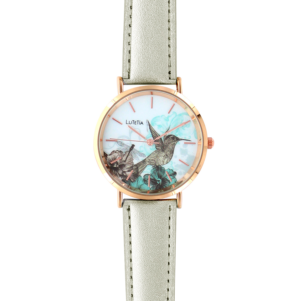 Lutetia ladies\\\' watch, rose-gold coloured case, dial with humming bird print and man-made strap