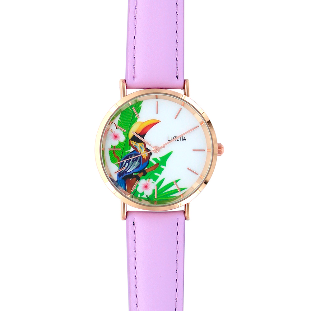 Lutetia ladies\\\' watch, rose-gold coloured case, dial with toucan print and mauve man-made strap