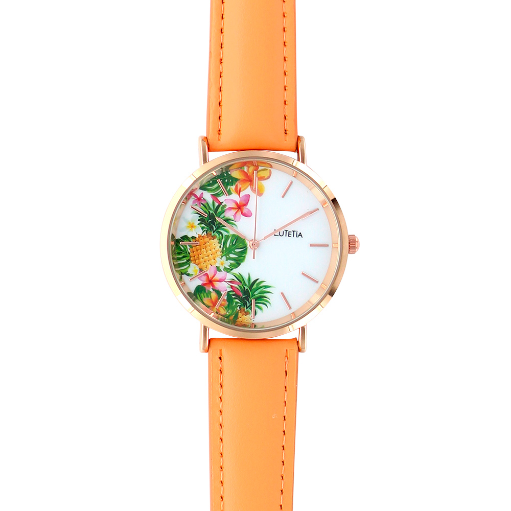 Lutetia ladies\\\' watch, rose-gold coloured case, dial with tropical print and orange man-made strap
