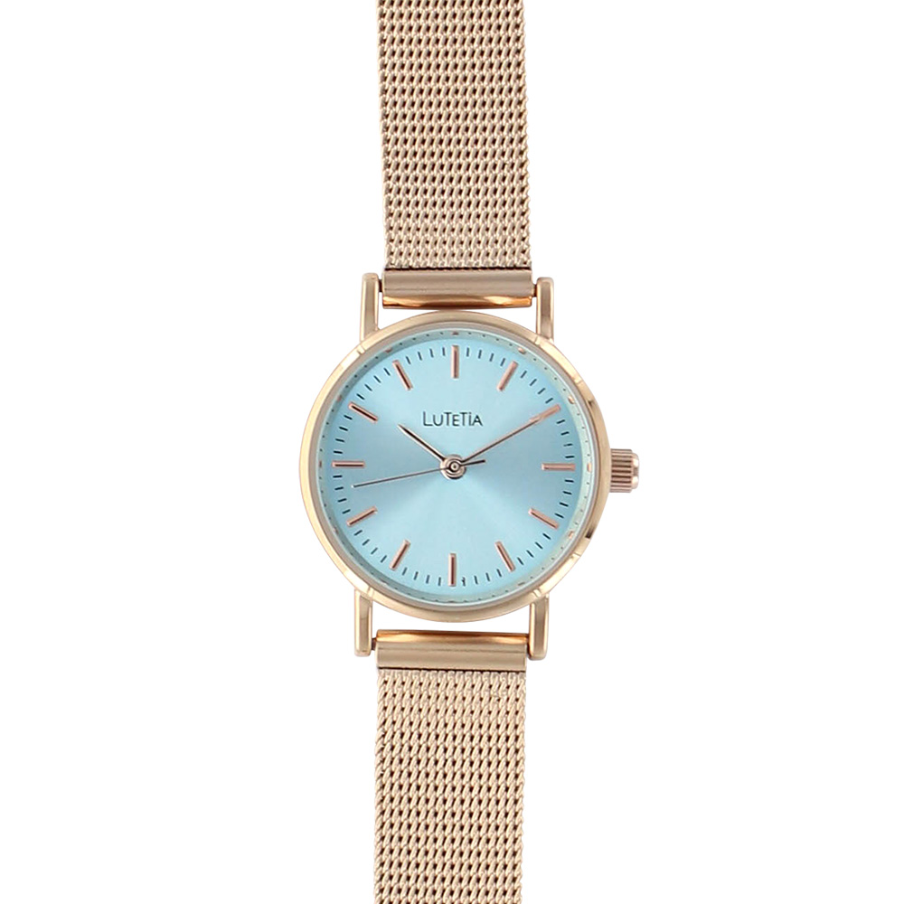 Lutetia ladies\\\' watch with pale blue dial, rose-gold case and milanese metal strap