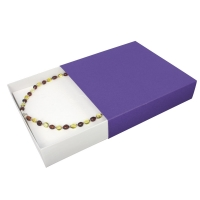 Matchbox style card necklace box in matt purple and glossy white finish