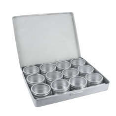 Metal storage case with 12 compartments