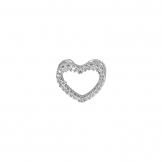 Micro pavé-set heart pendant in rhodium plated sterling silver