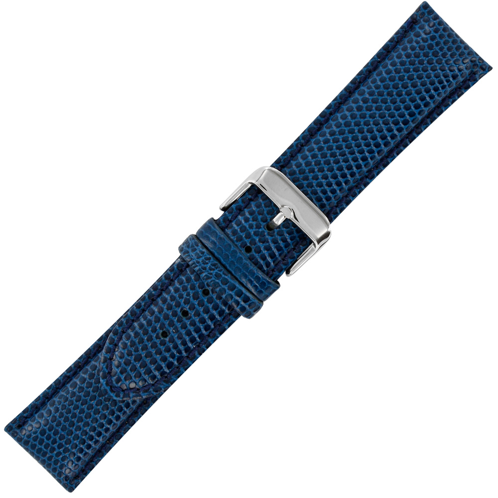 Navy blue genuine leather watch strap with lizard skin finish and steel buckle