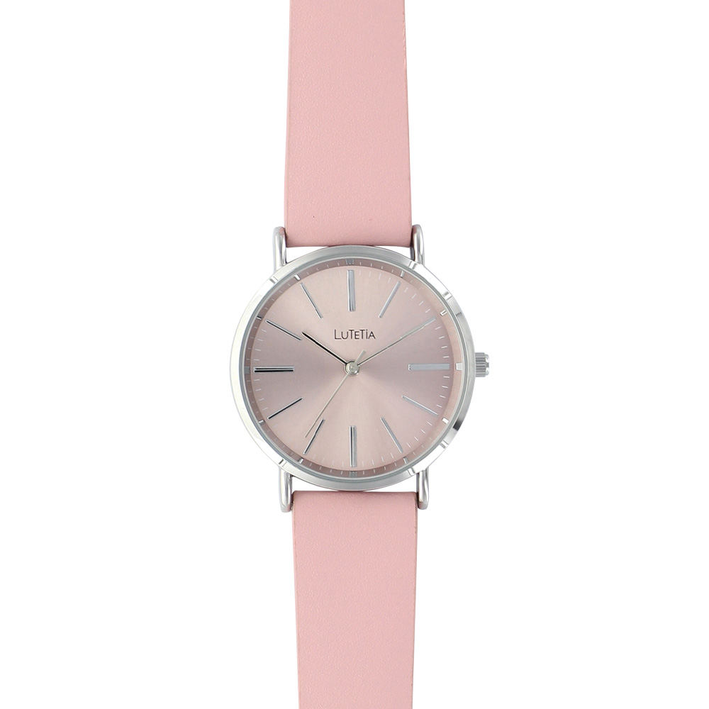 Pink Lutetia watch with man-made strap