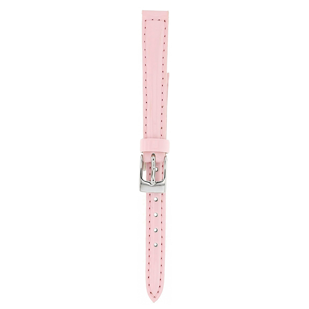 Pink 10mm man-made watch strap with chrome buckle
