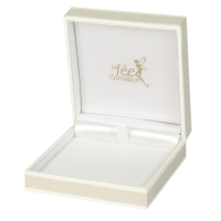 Plastic jewellery presentation box sheathed in beige paper with white borders