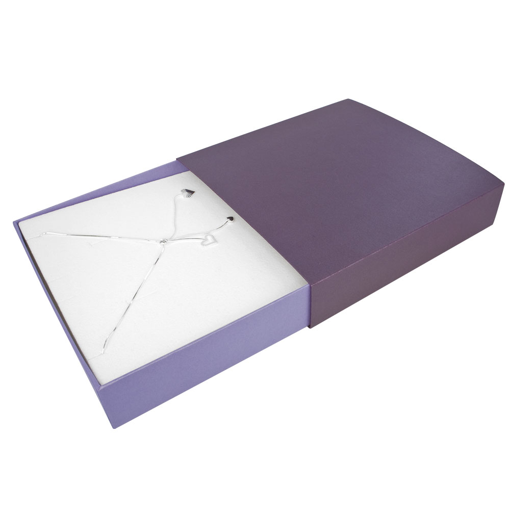 Purple card matchbox style necklace box with mauve drawer and white man-made foam insert