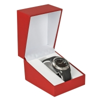 Red man-made leatherette finish watch box with white velveteen lining