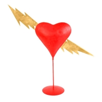 Red metal \\\'Struck by lightning\\\' display for Saint Valentine\\\'s Day