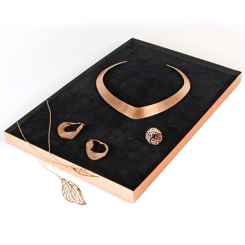 Rose-gold mirror finish jewellery display tray with black foam insert