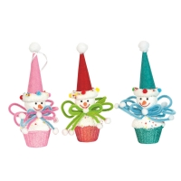 Set of 3 cupcake snowmen