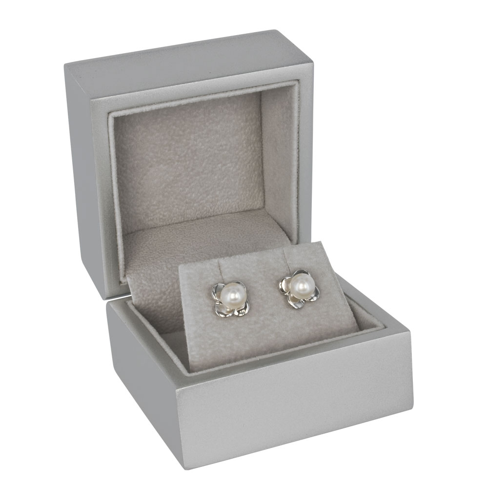 Silver grey, satin-finish painted wood jewellery presentation boxes