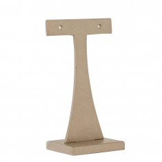 T-shaped taupe earring display stand in resin and painted wood