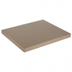 Taupe satin-finish painted wood low display platform 30 x 35 x 2.5cm