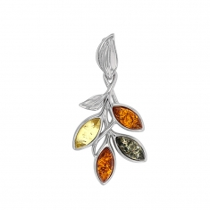 Three-coloured amber pendant on rhodium plated sterling silver with leaf details