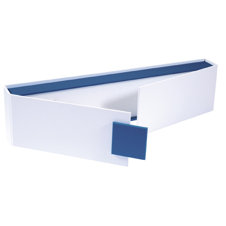 White and blue card jewellery presentation box with magnetic seal