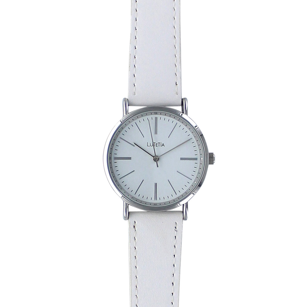 White Lutetia watch with top-stitching on man-made strap