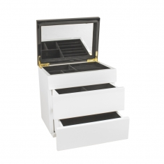 Black and white lacquered wood jewellery box with drawers