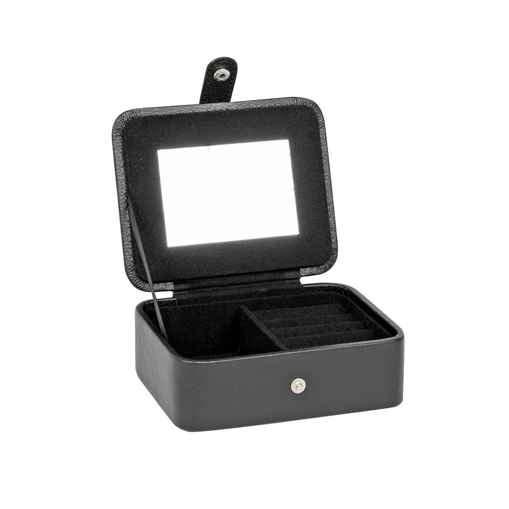 Black man-made small jewellery box with mirror