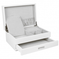 Elegant white lacquer finish wooden jewellery box, grey lining