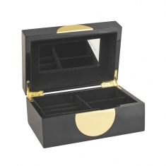 Lacquered wooden jewellery box with gold coloured trim