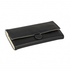 Man-made black leatherette jewellery purse with full grain finish