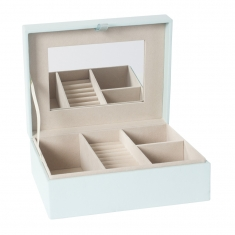 Pale blue jewellery box with mirror