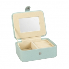 Pale blue, smooth finish man-made leatherette jewellery box with mirror and press stud fastener