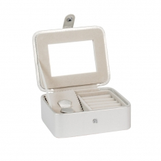 Small, grey jewellery box with mirror