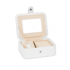 Small travel jewellery box with press stud fastener