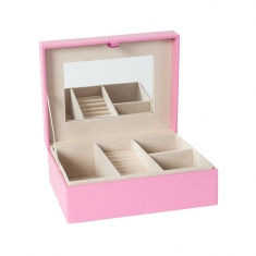 Smooth leatherette jewellery box with beige suedette lining and mirror